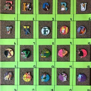 Disney Pins 5/$25 Alphabet and Zodiac